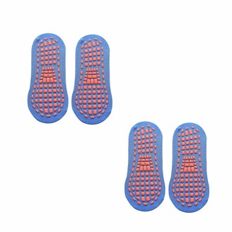 Bocotoer Pack of 2 Low Cut Non Slip Ankle Slipper Socks Sports Socks for Workout and Casual Blue