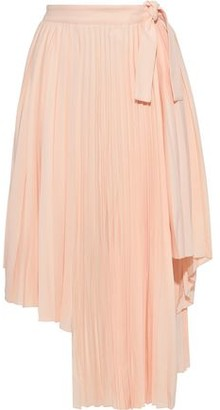 Maje Asymmetric Pleated Crepe Skirt