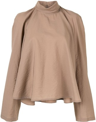 Lemaire Roll Neck Flared Blouse