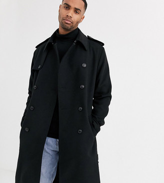 Asos Design DESIGN Tall double breasted long line trench jacket in black