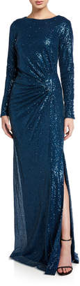 Rickie Freeman For Teri Jon Sequin Long-Sleeve Column Gown