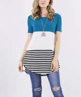 Lydiane Women's Tunics TEAL - Teal Stripe & Color Block Short-Sleeve Crewneck Tunic - Women