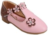 DADAWEN Children's Girl's Flowers Rhinestone T-Strap Dress Shoe Oxford - 8.5 US