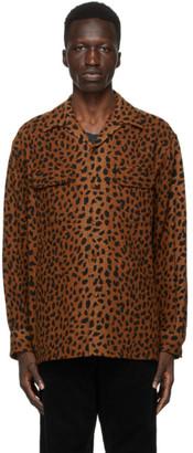 Wacko Maria Brown and Black Leopard Open Collar Shirt