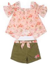 Little Lass Floral Top Short Set - Girls