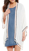 Takara Embroidered Trim Tassel-Accented Open-Front Kimono