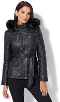 New York & Co. Quilted Faux-Leather Fur-Trim Jacket