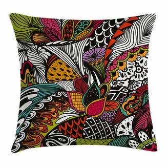 "East Urban Home Exotic Flowers Square Pillow Cover East Urban Home Size: 16"" x 16"""