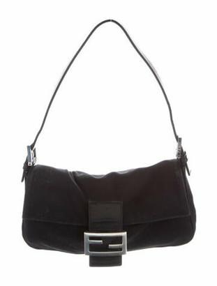 Fendi Leather-Trimmed Neoprene Baguette Black