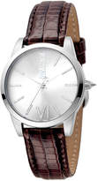 Just Cavalli 32mm Relaxed Velvet Leather Watch, Brown