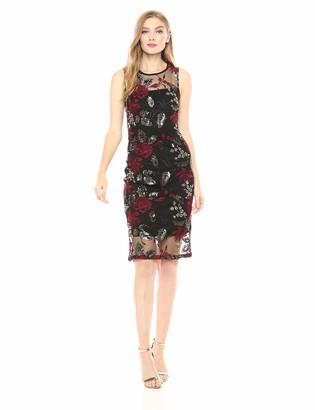 Calvin Klein Women's Lace Sheath with Illusion Neckline Dress