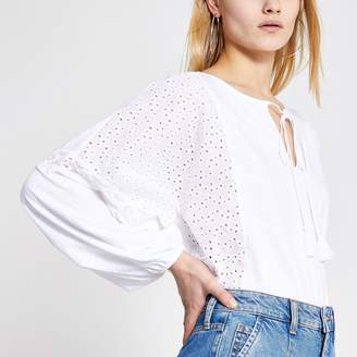 River Island Womens White broderie panel batwing blouse