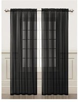 Victoria Classics Sheer Window Curtain Panel 2Pc Set: Silky Chiffon, 55in x 84in (Black)
