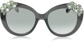 Jimmy Choo MEGAN/S 1VDIC Dark Grey Oversized Sunglasses w/Jewelled Clusters