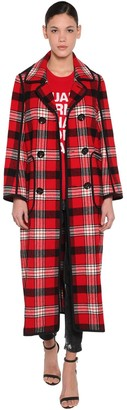 DSQUARED2 Check Double Breast Wool Coat