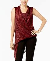 Alfani Asymmetrical-Hem Faux-Wrap Tunic, Created for Macy's