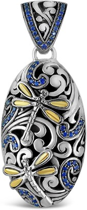 Devata Sweet Dragonfly Classic Sterling Silver Embellished 18K Gold & Blue CZ Dragonfly Wings Pendant