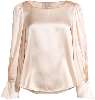 Rebecca Taylor Flute-Sleeve Silk Blouse