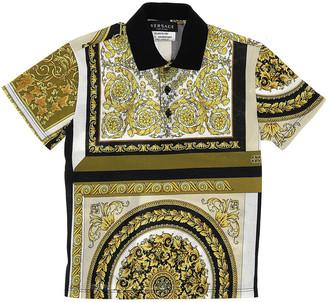 Versace Boy's Baroque Mosaic Short-Sleeve Polo Shirt, Size 8-14