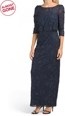 Metallic Soutache Blouson Illusion Gown