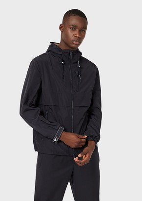Emporio Armani Packable Hooded Jacket In Technical Fabric
