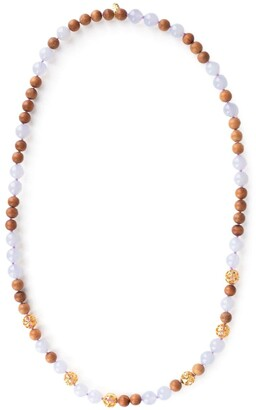BUDDHA MAMA Chalcedony And Wood Beaded Necklace