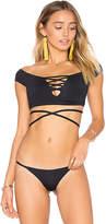 Frankie's Bikinis Frankies Bikinis Shiloh Top in Black. - size L (also in M)