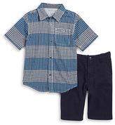 Calvin Klein Boys 2-7 Boys Plaid Sportshirt and Shorts Set