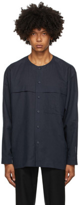 Homme Plissé Issey Miyake Navy Linen and Cotton Shirt
