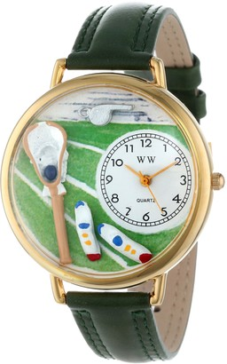 Whimsical Watches Lacrosse Black Padded Leather and Goldtone Unisex Quartz Watch with White Dial Analogue Display and Multicolour Leather Strap G-0820014