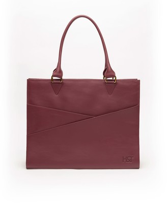Holly & Tanager Confidante Structured Leather Tote In Burgundy