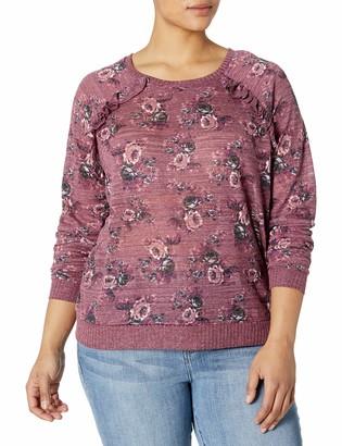 Self Esteem Women's Printed Ruffle Front Sweatshirt