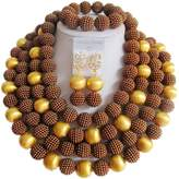 laanc African Nigerian Beads Women's 14 Rows Gold Plated Imitation Pearls Wedding Jewelry Sets