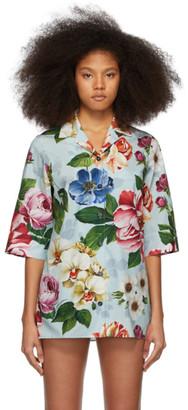 Dolce & Gabbana Blue Poplin Floral Shirt