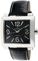 Peugeot Women's Silver Tone Rectangle Black Leather Strap Watch