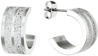 Gravelli Fusion Concrete & Surgical Steel Hoop Earrings Grey