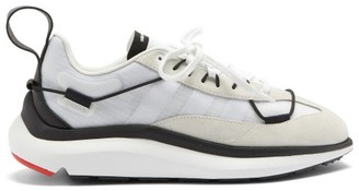 Y-3 Shiku Run Mesh And Suede Trainers - White Black
