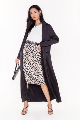 Nasty Gal Womens satin duster coat - black - 4