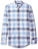 Nautica Men's Big and Tall Long Sleeve Plaid Oxford Button Down Shirt