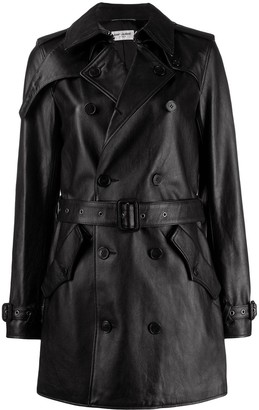Saint Laurent Double-Breasted Leather Coat