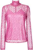 G.V.G.V. foiled lace frilled nigh neck top