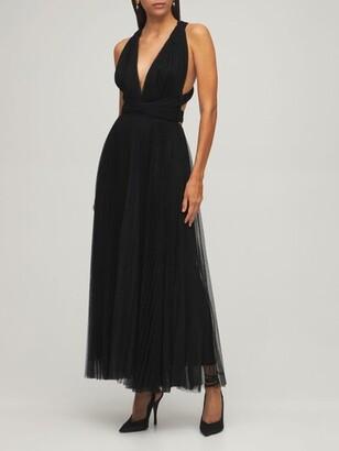 Maria Lucia Hohan Pleated Tulle Midi Dress W/ Low Back