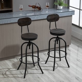 Aosom HOMCOM Set of 2 Retro Industrial Elm Wood Mid-Back Barstools with Adjustable Height and Swivel Seat, Dark Brown and Black