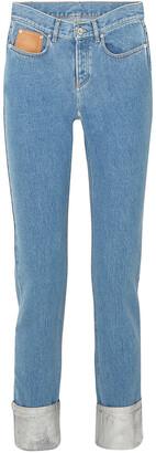 Paco Rabanne Two-tone High-rise Straight-leg Jeans
