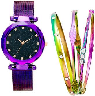 INC International Concepts I.n.c. Women Iridescent Mesh Bracelet Watch 35mm Gift Set