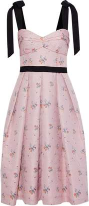 Carolina Herrera Tie-detailed Pleated Floral-jacquard Dress