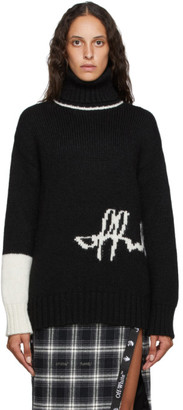 Off-White Black and Alpaca Intarsia Logo Turtleneck