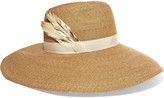 Eugenia Kim Carmen Feather-trimmed Woven Paper Hat - Camel