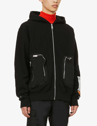 Heron Preston Zipped pocket cotton-jersey hoody