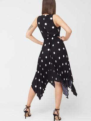 AX Paris Polka Dot Pleated Midi Dress - Black